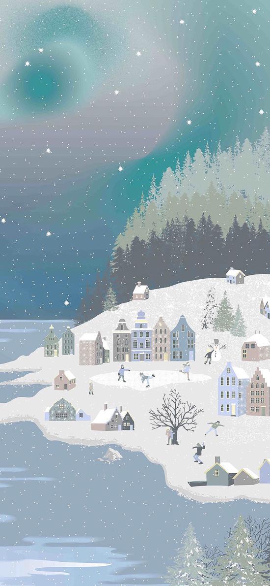 雪景 插画 创意 建筑