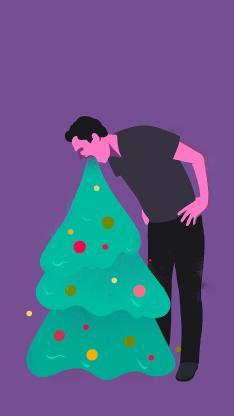 圣诞树 男子 呕吐