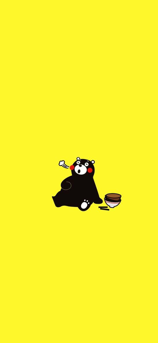饱 碗 熊本熊 日本 卡通 黄色