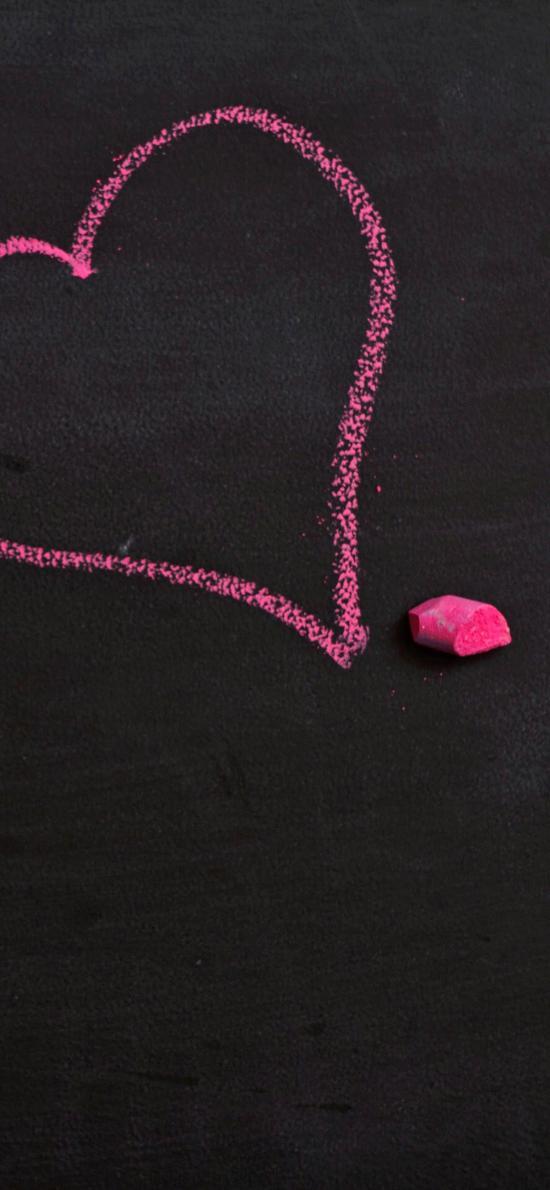 爱心 粉笔画 桃心 黑色