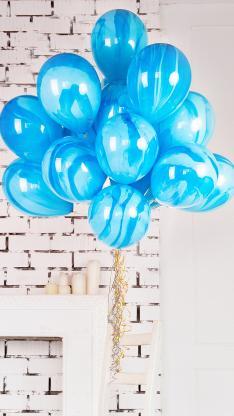气球 蓝色 气氛  一捆
