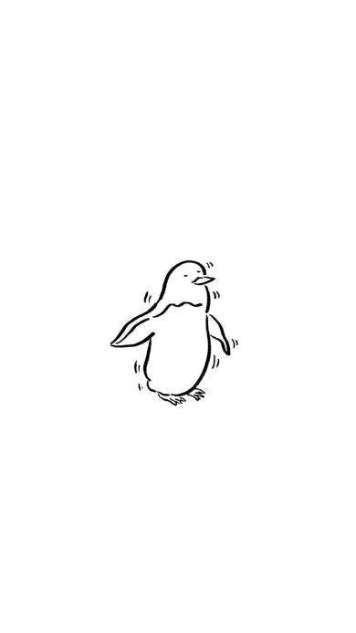 白色背景 简笔画 企鹅