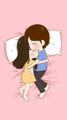 情侣 爱情 睡觉 拥抱 粉色