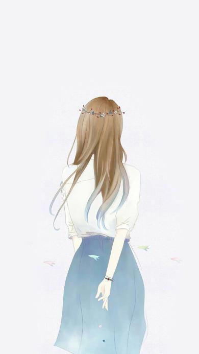 插画 背影 女孩 简约