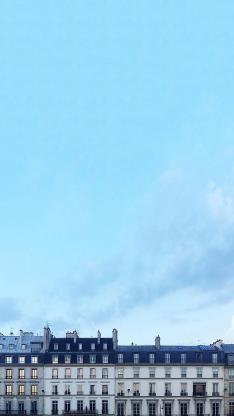 建筑 楼房 蓝色 屋顶 窗