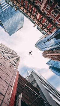 飞机 飞行 航空 建筑 高楼