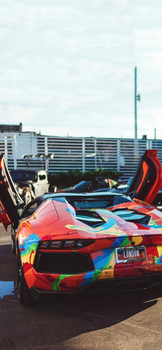 法拉利 炫酷 彩色 自动门 超级跑车