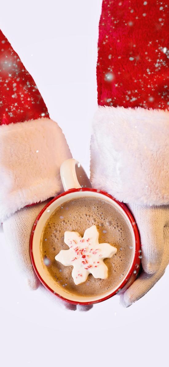 圣诞老人 咖啡 冬天 雪
