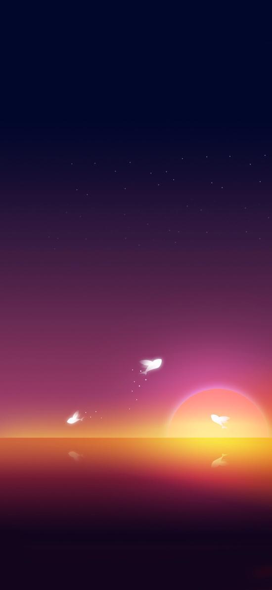 日出 绘画 跳跃 渐变