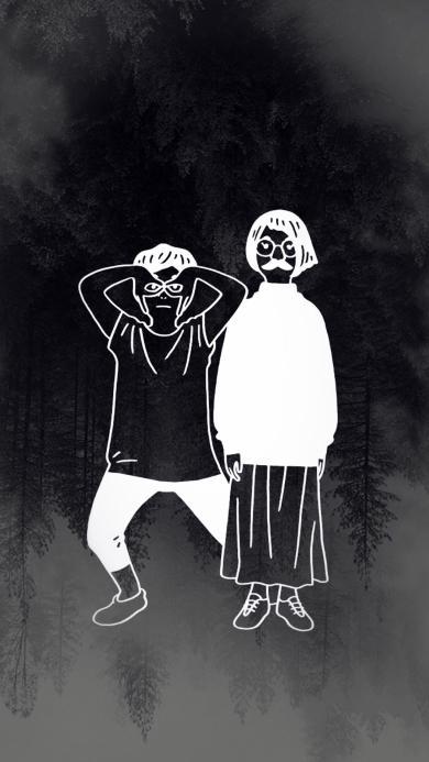 情侣简笔画 创意 黑白