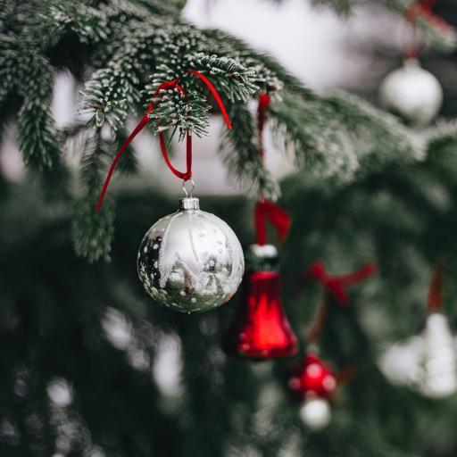 圣诞树 雪霜 挂件 银色小球
