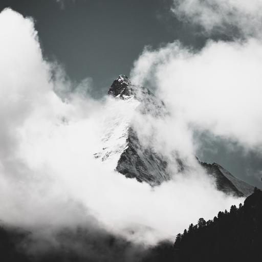 自然美景 山峰 云雾 黑白
