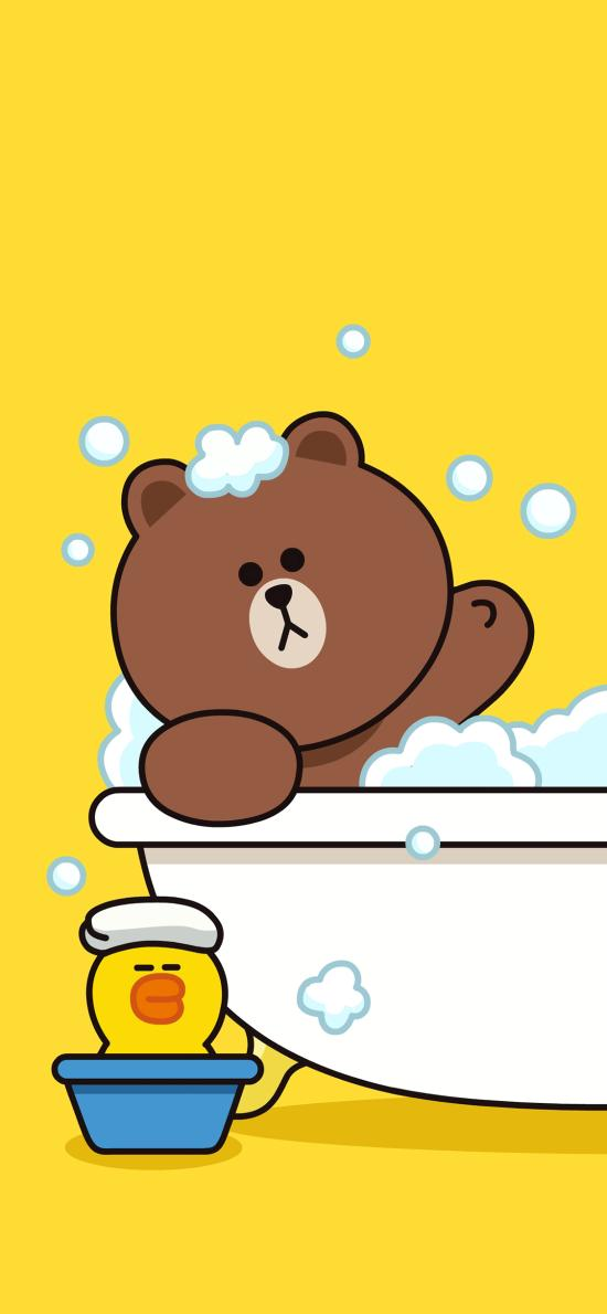 布朗熊 line 萨莉鸡 浴缸 泡澡 可爱 卡通