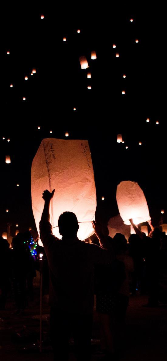 孔明灯 庆祝 夜晚 祝福 祈祷