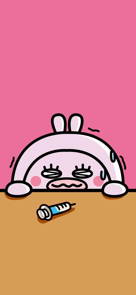 害怕 紧张 兔子 针筒 打针 萌
