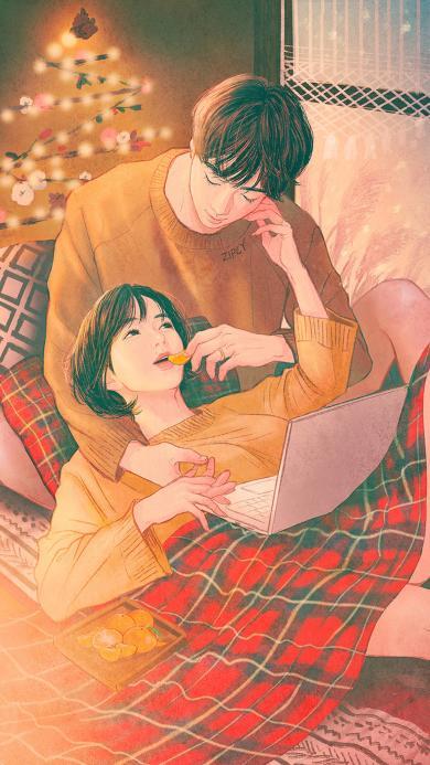 情侣 爱情 插画 触摸 圣诞树