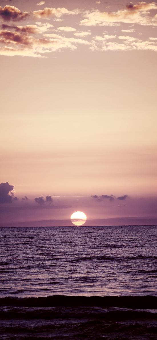 大海 天空 落日 紫色调