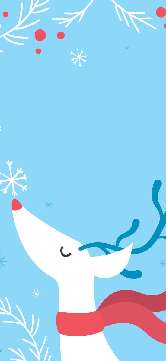 鹿 圣诞 蓝色 插画