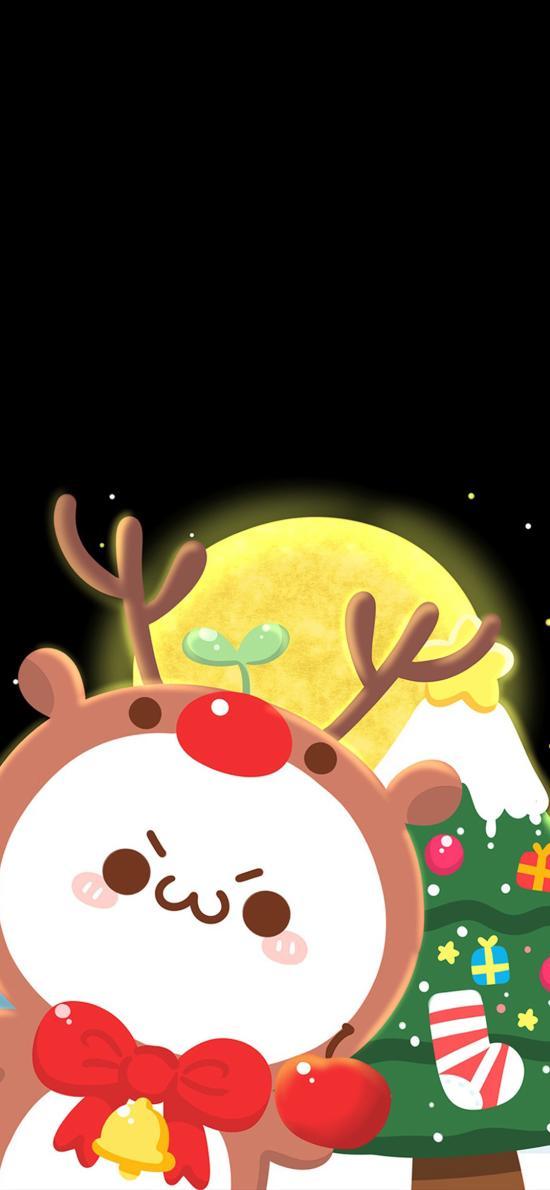 圣誕 小鹿 圣誕樹 長草顏文字 情侶