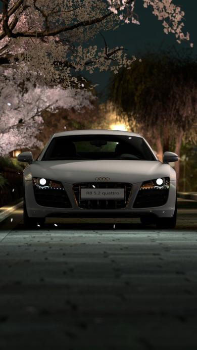 奥迪R8 汽车 轿车 黑夜 街道