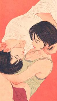 情侣 爱情 插画 触摸 唯美