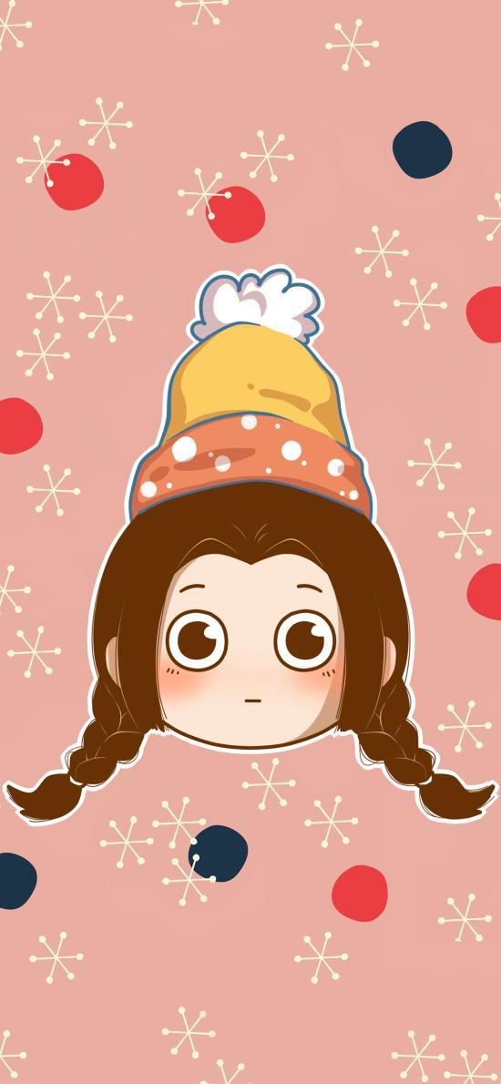小女孩 卡通 可爱 帽子 雪花 粉色