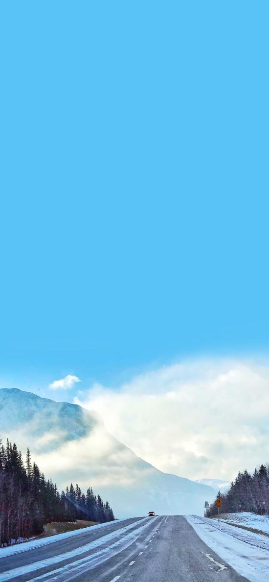 路 蓝天 雪 冬季  方向