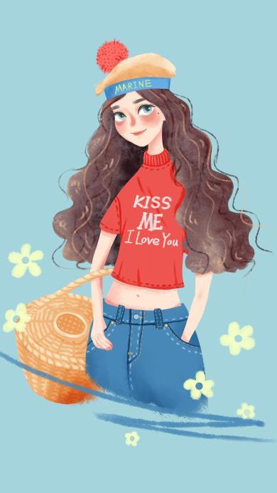 女孩插画 时尚 发