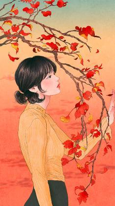 情侣 女孩 唯美 插画 枝叶