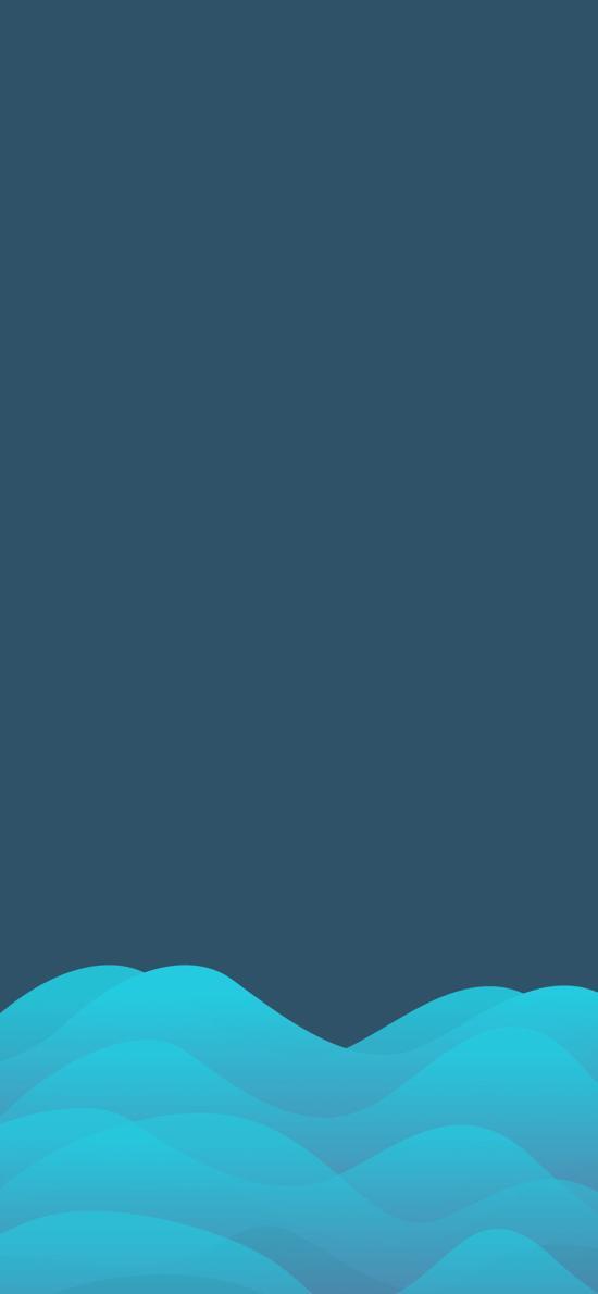 海水 抽象 线条 蓝色 简约
