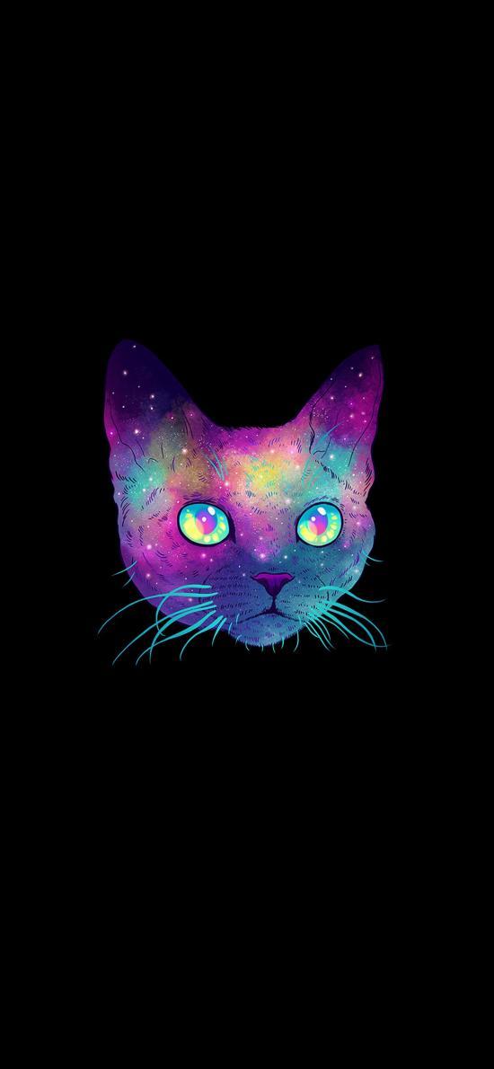 貓 星空 黑色背景 設計 漸變