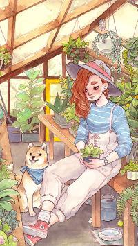 温室 种植 女孩 插画 柴犬