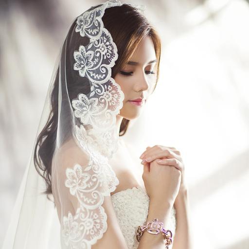婚纱 祈祷 头纱 幸福
