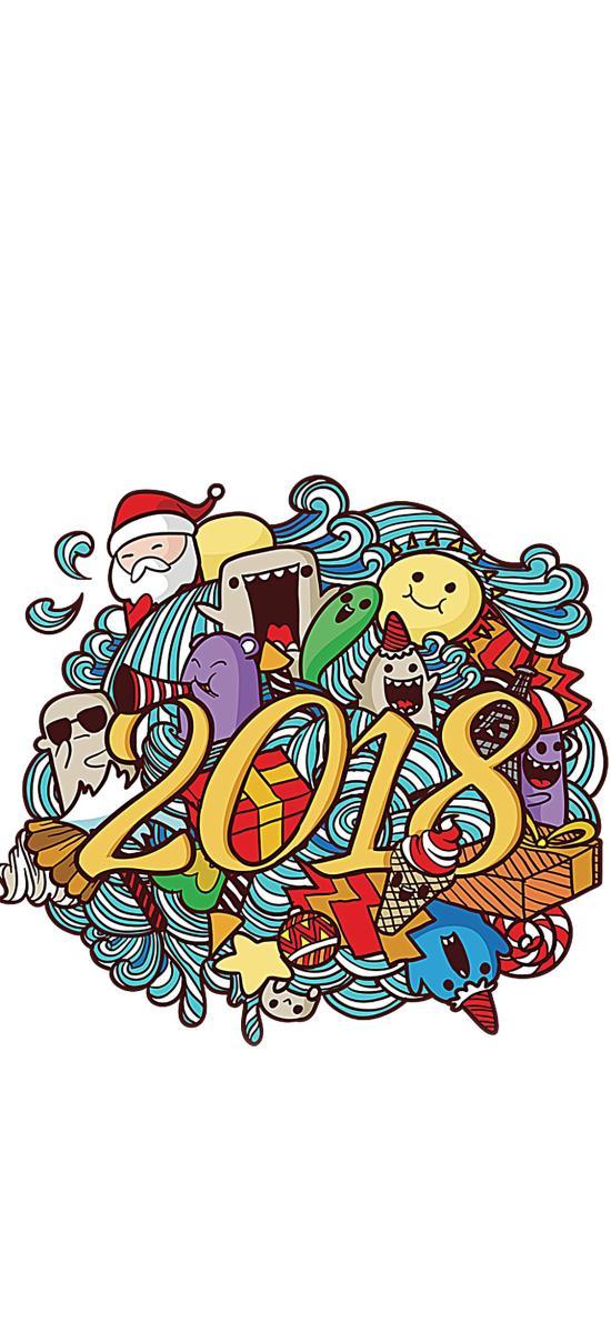 2018 创意 手绘 新年