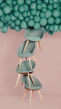 摄影 绿色气球 椅子 层叠