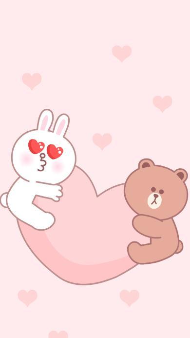 line friends 布朗熊 可妮兔 动画 爱心 粉色 爱情