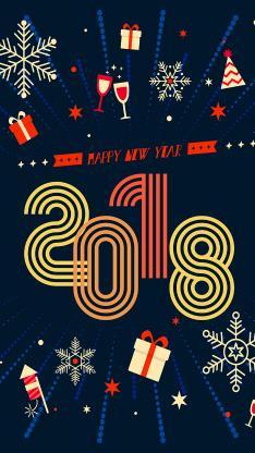 2018 新年 雪花 礼物 平铺