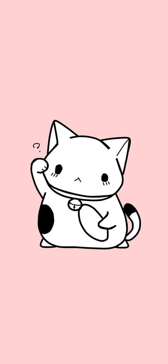 猫咪 粉色 卡通 可爱 疑问 喵星人