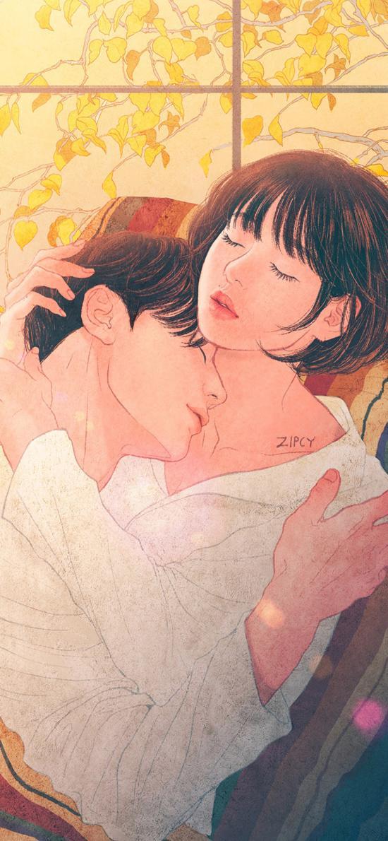 情侶 愛情 插畫 唯美 擁抱