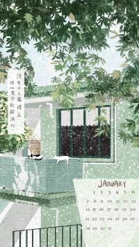 一月 日历 插画 猫咪