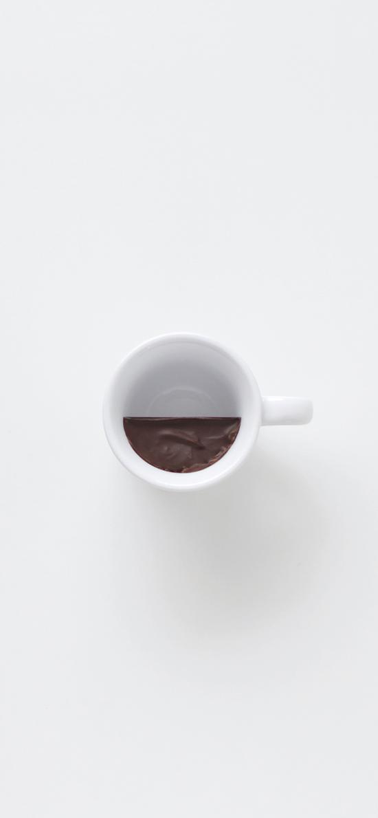 马克杯 白色 巧克力 凝固 分界