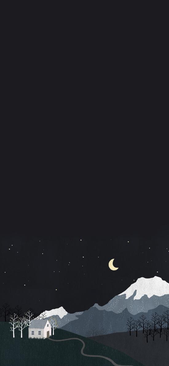 夜 村落 雪山 黑色 手绘 插画