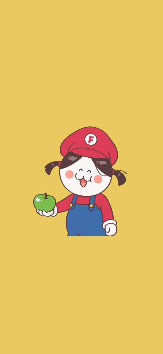 后田花子 超级玛丽 可爱 女孩 苹果 黄色