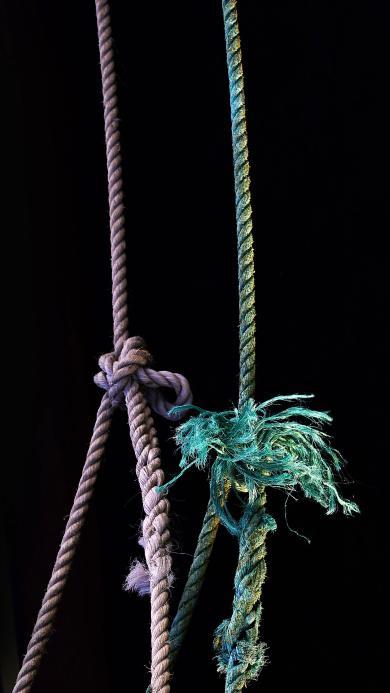 黑色背景 绳索 麻绳 打结