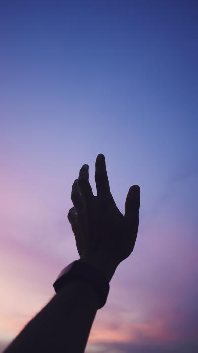 手 剪影 天空 伸出