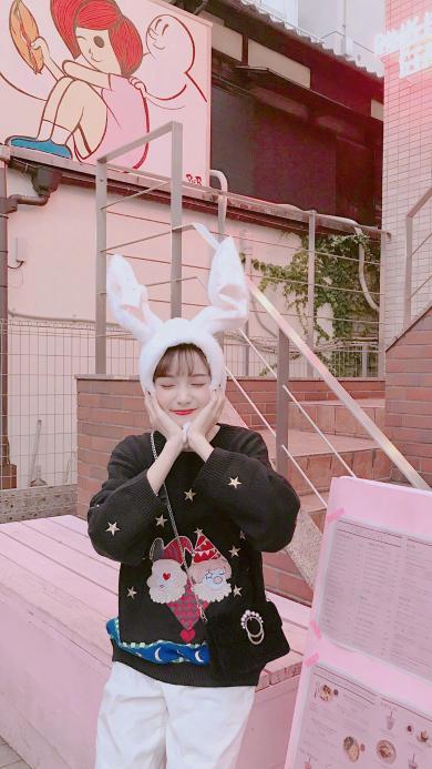 兔耳朵 可爱 萌 甜美 女孩