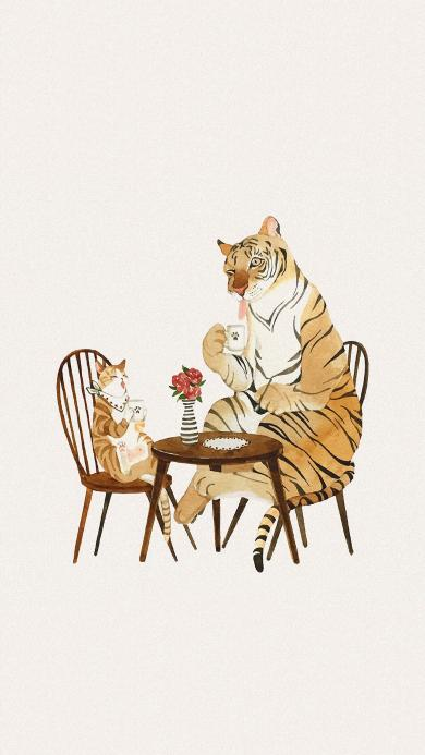 Grace J 插画 作品 老虎 猫咪