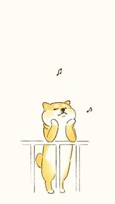柴犬 可爱 汪星人 音符 栏杆