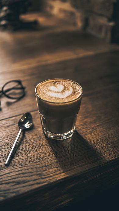 咖啡 拉花 木桌 勺