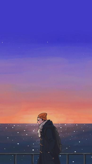 黄昏 男孩 插画 行走 日落
